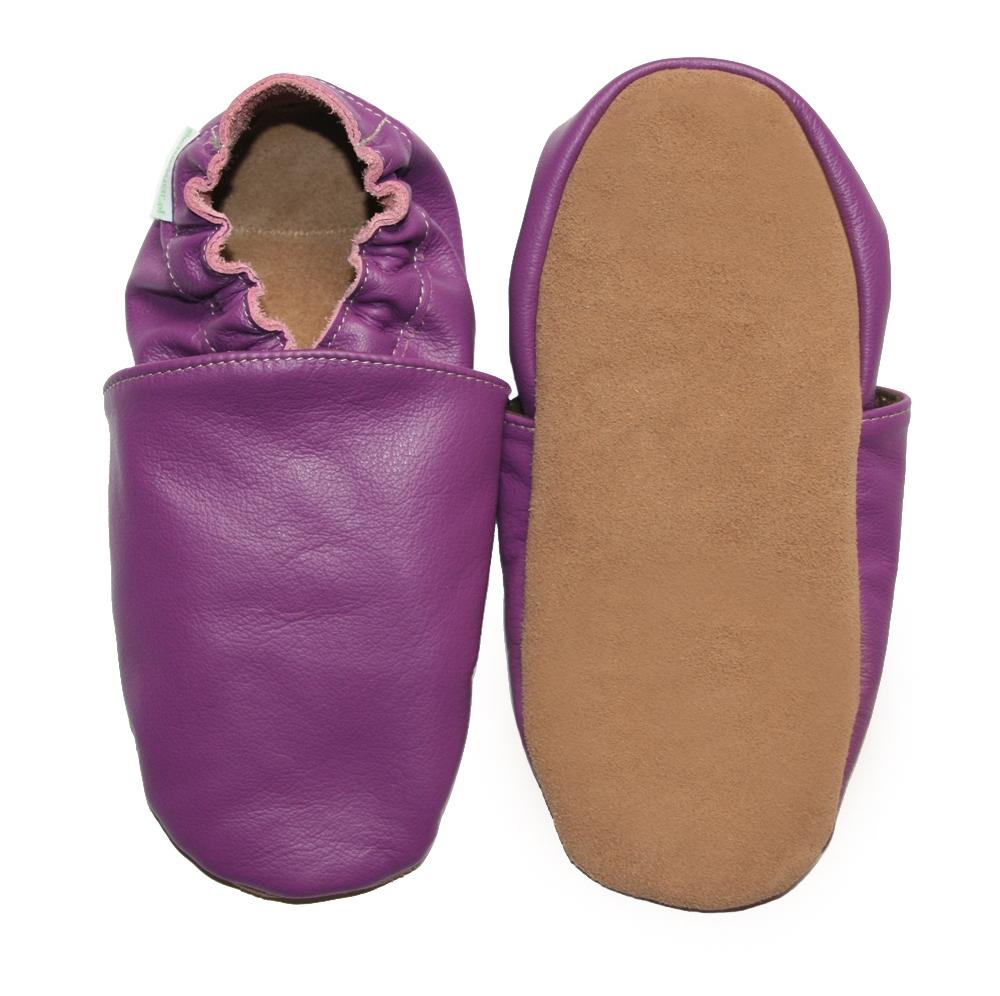chaussons b b enfant adulte en cuir souple violet. Black Bedroom Furniture Sets. Home Design Ideas